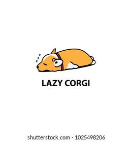 Lazy dog, cute corgi puppy sleeping icon,  logo design, vector illustration