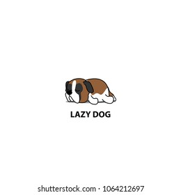 Lazy dog, cute saint bernard sleeping icon, logo design, vector illustration