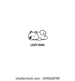 Lazy dog, cute samoyed puppy sleeping icon, logo design, vector illustration