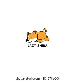Lazy dog, cute shiba inu puppy sleeping icon, logo design, vector illustration
