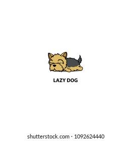 Lazy dog, cute yorkshire terrier puppy sleeping icon, logo design, vector illustration