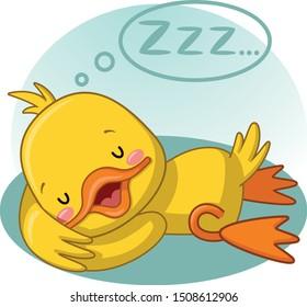 Lazy duck, cute duckling sleeping