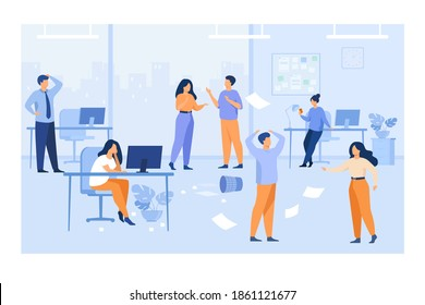 Lazy employees making mess and chaos at workplaces in office. Unorganized managers chatting, using computers at desk among flying papers. For chaotic work, teamwork problem concept