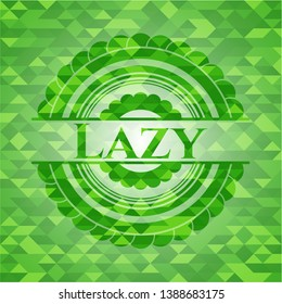 Lazy green emblem with mosaic background. Vector Illustration. Detailed.