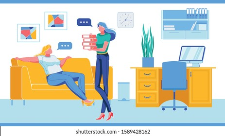 Lazy and Hardworking Company Employees Talking. Two Women, Office Clerks Cartoon Characters with Different Attitude to Work. Business Career and Efforts to Succeed. FLat Vector iLlustration.