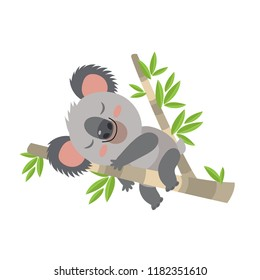 Lazy Koala Sleeping On A Branch Cartoon Vector Illustration. Animal Of Australia. Vector Illustration Of A Sleeping Koala. Baby Bear Koala, On A White Background.