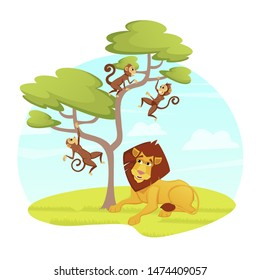 Lazy Male Lion Relaxing under Tree with Jumping Monkeys in Modern Zoo Park Open Air Cage on Nature, African Animals Wildlife, Safari, Predators and Herbivorous Cartoon Flat Vector Illustration