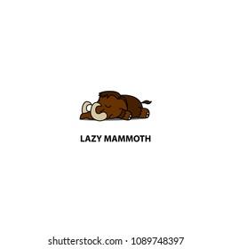 Lazy mammoth sleeping icon, logo design, vector illustration