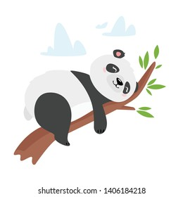 Lazy panda bear sleeping on tree branch illustration. Asian rainforest adorable animal resting. Wild cute baby mammal cartoon character dreaming. Jungle, forest wildlife, zoo children book drawing