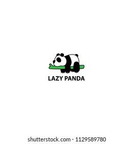 Lazy panda sleeping on a branch cartoon, vector illustration