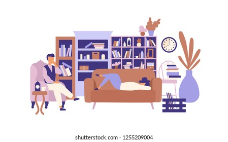 Lazy people relaxing in living room full of exquisite furniture. Man and woman spending time at home and lazing around. Laziness and idleness. Colorful vector illustration in trendy flat style.
