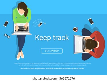 Lazy people sitting on the floor and working with laptop in social networks. Flat illustration top view of woman and man relaxing at home, drinking coffee using laptop and typing comments in community