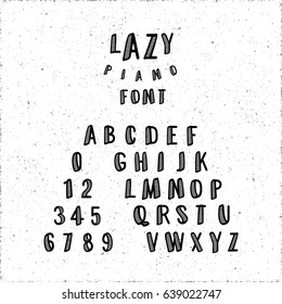 Lazy Piano Font Calligraphic Hand Drawn Caps and Numerals Retro Style Lettering - Black Elements on White Grunge Background - Vector Typography Design