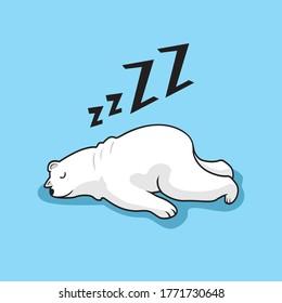 Lazy Polar Bear Cartoon Sleeping Illustration