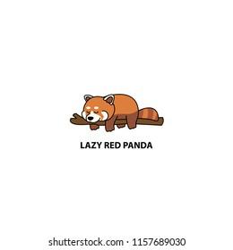 Lazy red panda sleeping on a branch cartoon, vector illustration