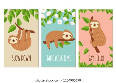 Lazy sloth. Cute slumbering sloths on branch. Child t shirt design or greeting cards vector set. Illustration of slumber animal, laziness and sleep on branch
