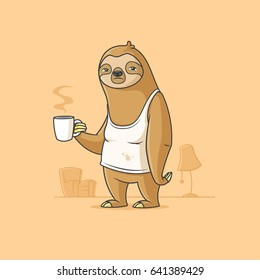 Lazy sloth having a coffee on monday morning vector cartoon illustration