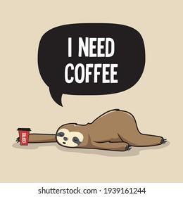 Lazy Sloth Need Coffee Cartoon