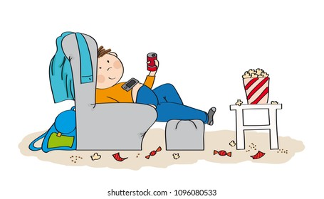 Lazy teenage boy sitting in the armchair, watching TV, drinking cola and eating popcorn. Mess is all around him. Original hand drawn illustration.