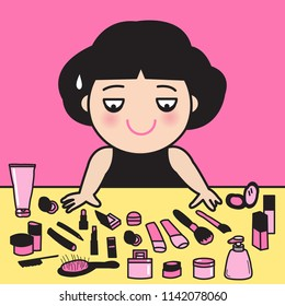 Lazy Tired Exhausted Girl Looking At Her All Beauty Products On Table. Woman Feeling She Doesn't Have Time Or Energy To Makeup Concept Card Character illustration