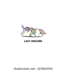 Lazy unicorn icon, logo design, vector illustration