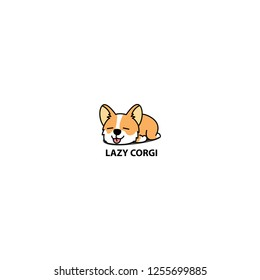 Lazy welsh corgi puppy sleeping icon, vector illustration