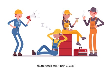 Lazy workers resting. Group of young people unwilling to work, have no desire or energy, woman giving orders crying with megaphone. Vector flat style cartoon illustration isolated on white background