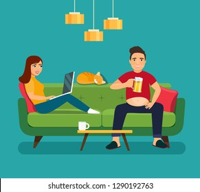 Lazy young fat man with glass of beer and Young woman looking into a laptop sitting on sofa isolated. Vector flat style illustration