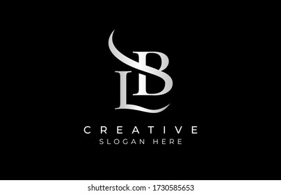 LB letter design logo logotype icon concept with serif font and classic elegant style look vector illustration. LB Letter Logo Design Template Vector Illustration.