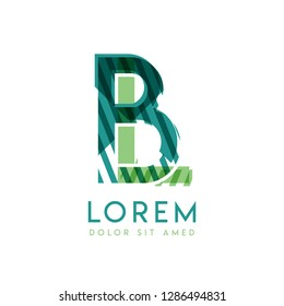 LB luxury logo design with green and dark green color that can be used for creative business and advertising. BL logo is filled with bubbles and dots, can be used for all areas of the company