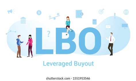 lbo leveraged buyout concept with big word or text and team people with modern flat style - vector