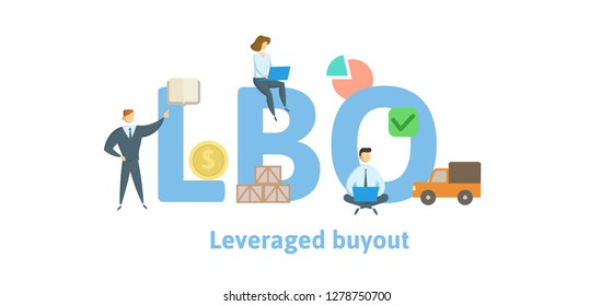 LBO, Leveraged Buyout. Concept with keywords, letters and icons. Colored flat vector illustration. Isolated on white background.