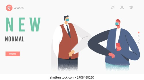 LBusiness Adapting anding Page Template. Characters Greeting Each Other with Elbows. Colleagues Alternative Non-contact Greet During Covid19, Social Distancing. Cartoon People Vector Illustration