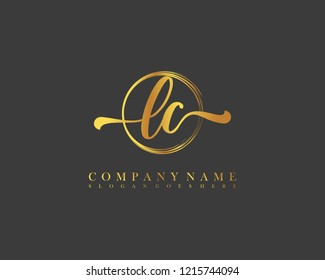 LC initial handwriting logo circle template vector