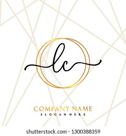 LC Initial Handwriting logo template vector