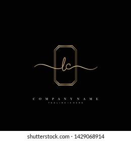 LC initial handwriting logo template vector