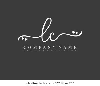 LC Initial handwriting logo vector