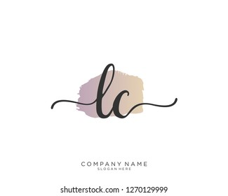 LC Initial handwriting logo vector