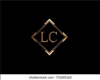 LC initial letter diamond shape golden logo