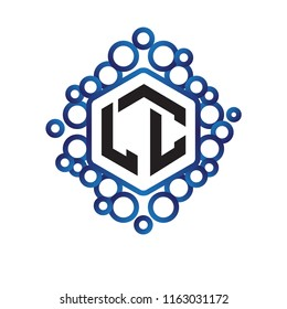 LC Initial letter hexagonal logo vector
