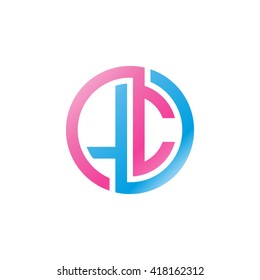 LC initial letters looping linked circle logo blue pink