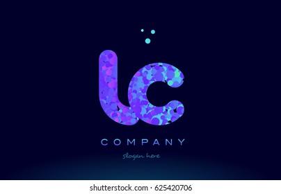 lc l c alphabet pink blue bubble circle dots creative letter company logo vector icon design template