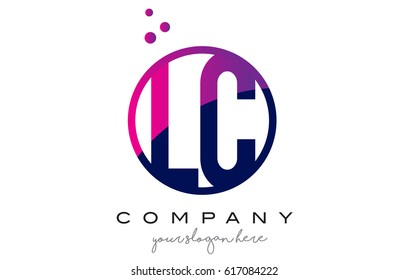 LC L C Circle Letter Logo Design with Purple Magenta Dots Bubbles Vector Illustration