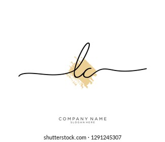 LC L C Initial handwriting logo template
