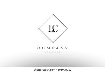 lc l c  retro vintage black white alphabet company letter logo line design vector icon template