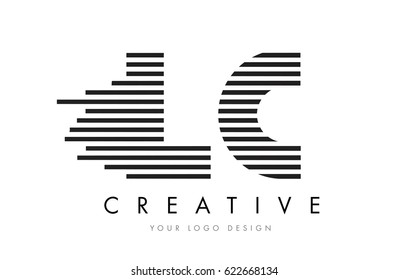 LC L C Zebra Letter Logo Design with Black and White Stripes Vector