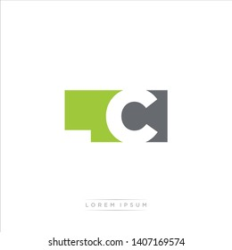 LC Logo Letter with Modern Negative space - Light Green and Grey Color EPS 10