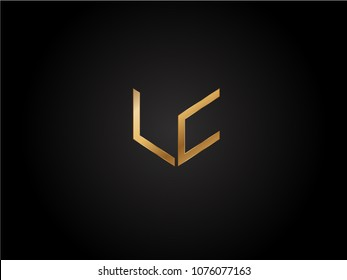 LC square shape Letter logo Design in silver gold color