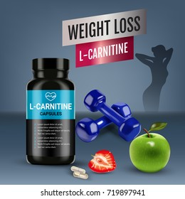 L-Carnitine ads. Vector realistic illustration of cans with capsules with cellulose of strawberry and green apple. Poster with product and sports equipment.