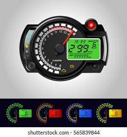 LCD Digital Back-ight Motorcycle Speedometer Tachometer Odometer MotorBike Instrument Scooter Dirt bike